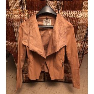 New Look Faux Leather Crop Moro Jacket In Camel 8